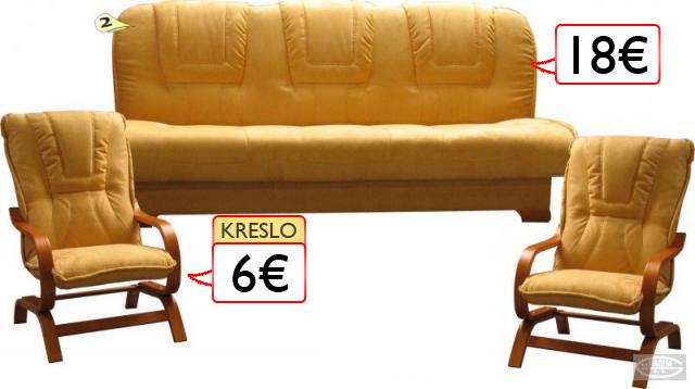gauč 18€ a kreslá po 6€